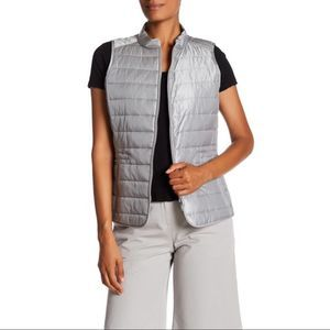 Lafayette 148 New York Quilted Vest Light Grey